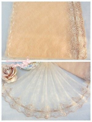"""10.5""""*1Y Embroidered Floral Tulle Lace Trim~Cream Peach+White+Tan~Remote Memory~"""