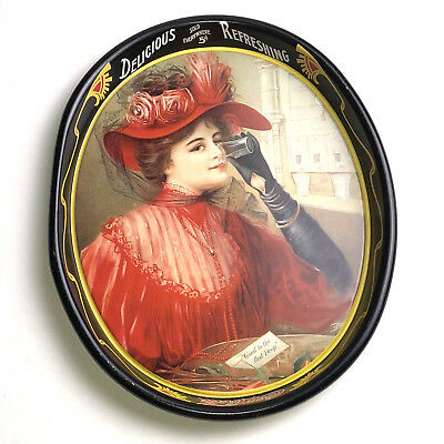 """1987 Coca Cola 1908 Calendar """" Lady In RED """" Remake Tray COLLECTIBLE"""