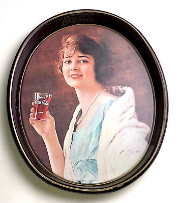 VTG 1973 Antic Coca-Cola Serving Tray Plate Woman drinking Coke REMAKE 1923