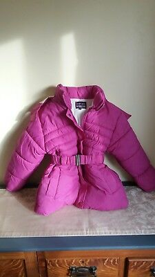 Girls Puffa Sports Jacket Fushia Pink Fleece Lined belt Detachable Hood age 10