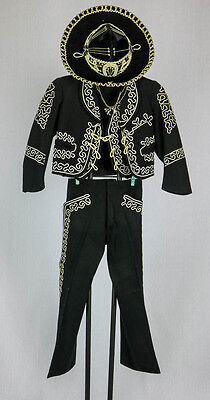 Mexican Boys Charro Mariachi Vintage Fiesta Suit With Hat Xsmall- Small