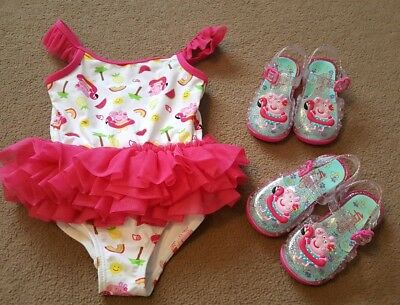 12-18 Months Peppa Pig Swimming Costume And Size 3 And 4 Jelly shoes