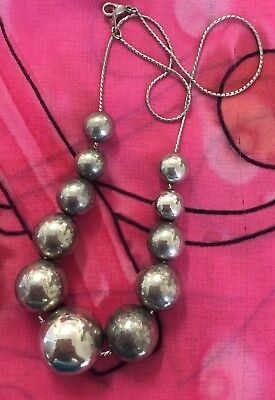 Vintage Antique Silver Metallic Chunky Big Ball Retro Necklace Estate Find Vtg