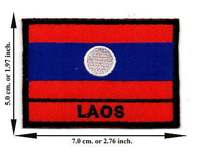 Laos Flag Coutry Nation Sports Travel Applique Iron on Patch Sew Crafts DIY