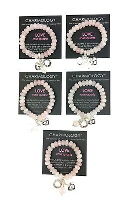 Job lot Wholesale 5 x VALENTINES Rose Quartz Love Gemstone Bracelets L108