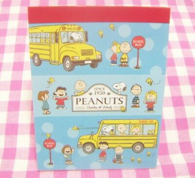 Peanuts Snoopy Friends School Bus Mini Memo Pad / Japan 2018 Cute Stationery