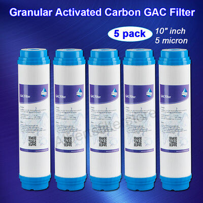"""5pk 5 Micron GAC Water Filter RO System Whole House Pre-filtration Universal 10"""""""