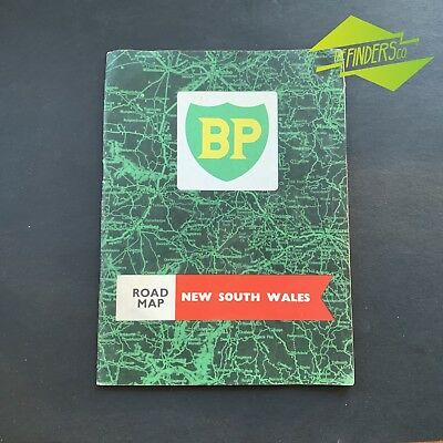 VINTAGE 1960's BP ROAD MAP OF NEW SOUTH WALES BOWSER OIL BOTTLE TIN CAN PETROL