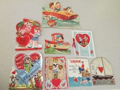 Beautiful Set of 8 Vintage Valentine's Day Cards -Vibrant Colors