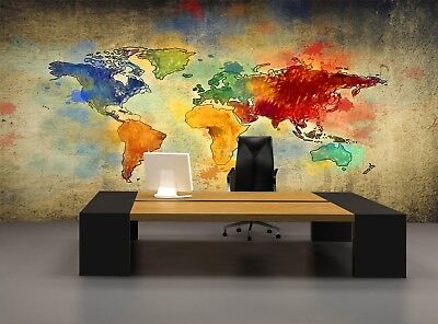 World Map   Photo Wallpaper Wall Mural DECOR Paper Poster Free Paste