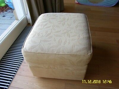 Gold Embossed Fabric Pouffe/Footstool on feet