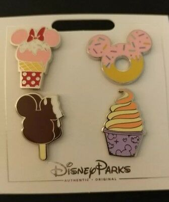 Disney Parks 4 Pin Treats Pin Set Dole Whip Donut Ice Cream Bar+