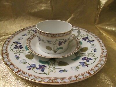 3 Pc Plate,cup And Saucer Haviland Limoges France Imperatrice Eugenie