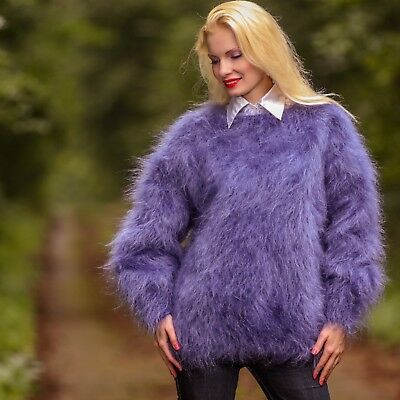Denim blue hand knitted mohair sweater fuzzy crewneck handmade jumper SALE