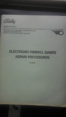 Bally Electronic Repair Procedure Service Pinball Machine manual