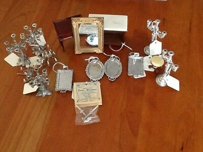 Vintage Victorian Period Pewter And Wood Doll House Furniture Lot