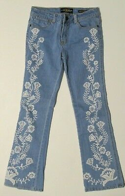 LUCKY BRAND Girls Jeans SIZE 14 Charlotte Mini Flare Floral Design Light Wash