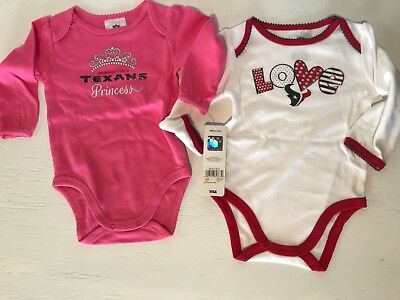 NFL Houston Texans Girls Long Sleeve Bodysuit (2 Pack), 12 Months, Pink/White