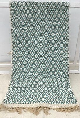 BLUE / GREEN DUCK EGG light cream cotton jute REVERSIBLE RUG / RUNNER 70x200 cm