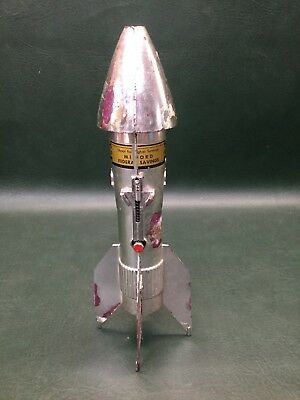 Vintage 1950's Astro Mfg. Berzac Rocket Coin Bank Advertising ~ As Is
