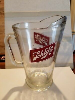 """Vintage Schlitz Logo Beer Pitcher - """"The Beer That Made Milwaukee Famous"""""""