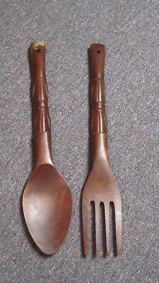 Lot of 2 vintage wooden spoon and fork wall décor sculptures Philippines