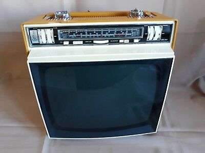 RADIO TV Televisore EMERSON B/N Vintage Design Colore GIALLO Space AGE Funziona