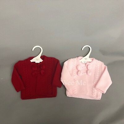 *SALE* Stunning Baby Girl Spanish Knitted Pom Pom Cardigan Pink Red Camel