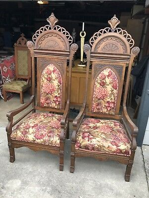 TWO Antique Mission Oak Throne Chairs