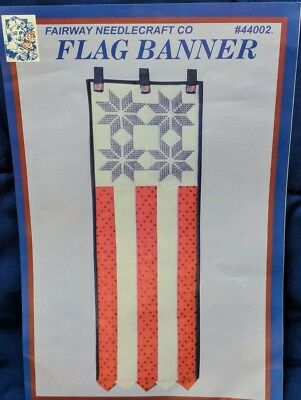 Fairway Patriotic Flag Stamped Cross Stitch Kit *** Bottom Fabric Not Included