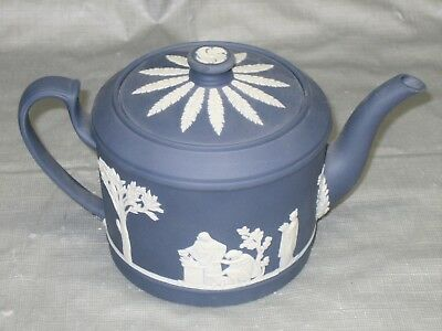"Wedgwood DARK BLUE & WHITE Jasperware - 4"" Diameter Teapot - Very Rare - ELNC"