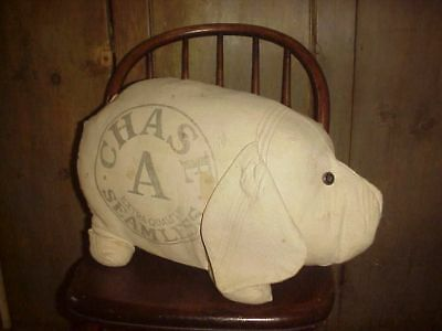 GIANT STUFFED PIG old ORIGINAL FEED SACK FARM FABRIC HAND MADE DOLL noRESERVE