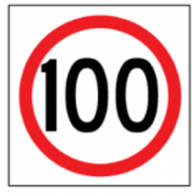 Temporary Traffic Signs -  100 IN ROUNDEL