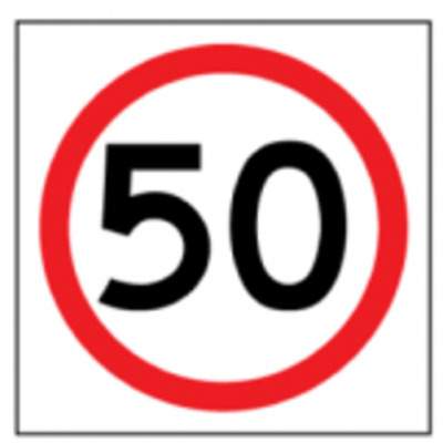 Temporary Traffic Signs -  50 IN ROUNDEL