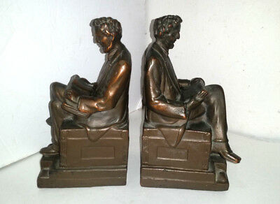 Antique BRONZE Clad President LINCOLN  BOOKENDS