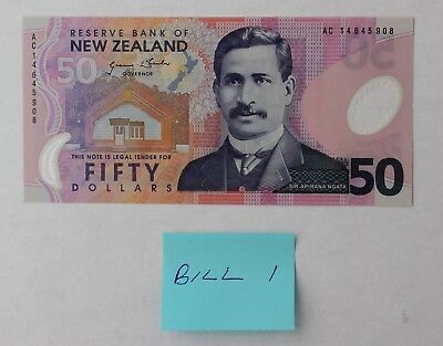 1 x 50 Dollars $50 2014 New Zealand Bill UNC; Consecutive Serial #s Available