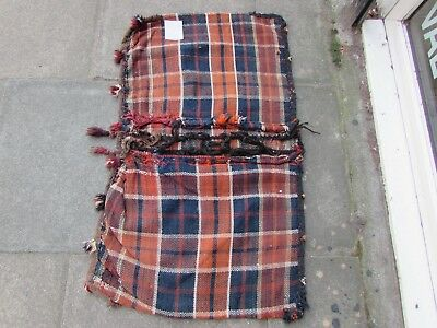 Old Hand Made Traditional Persian Oriental Wool Blue kilim saddle Bag 105x60cm
