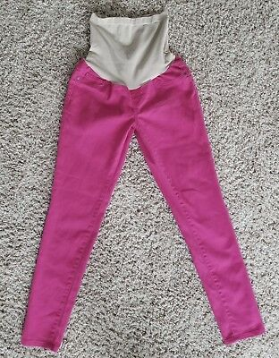 Motherhood Maternity Jeans Medium Womens Pink Full Belly Band Skinny
