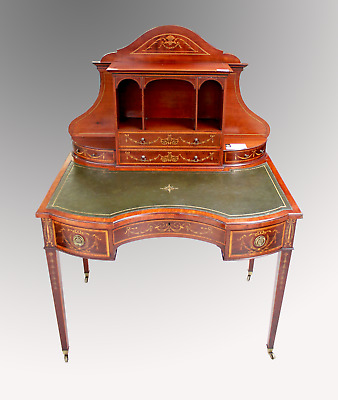 A Beautiful Antique Mahogany Inlaid Concave Writing Desk By Edwards And Roberts