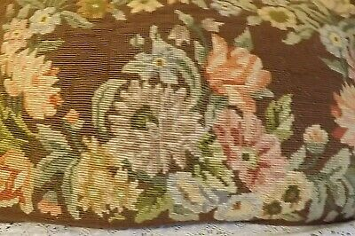 Beautiful Vtg Tapestry Needlepoint Cushion Floral Roses - Handmade & Feather Pad