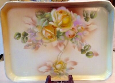 Antique Es Prussia  Floral Tray Yellow Roses Very Beautiful
