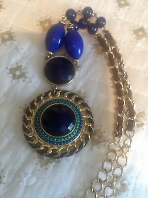 CHUNKY! BOLD! Vintage Napier Pendant Necklace, Blue agate! STUNNING! STATEMENT!