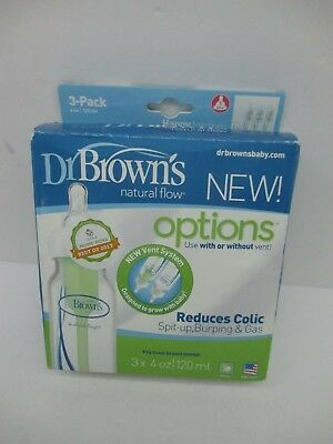 IN BOX Dr. Brown's Natural Flow Options 3 x 4oz. Baby Bottles Reduces Colic 0m+