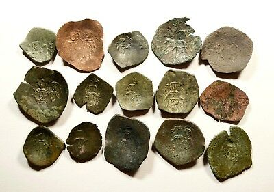 Lot Of 15 Ancient Byzantine Cup Coins - 046
