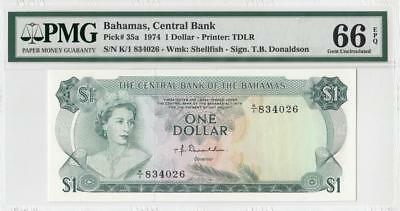 "1974 British Colony Bahamas Qeii $1 ""k/1"" (( Pmg 66 Epq ))"