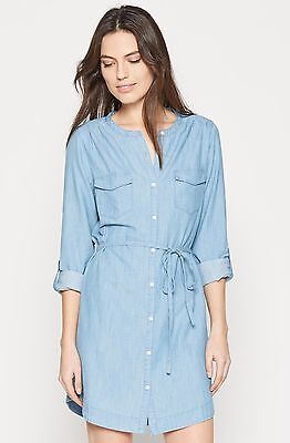 7235295f12 Soft Joie Milli Vintage Chambray Roll Tab Long Sleeve Belted Blue Shirt  Dress