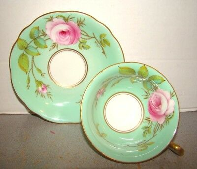 Foley Cup & Saucer Hand Painted Pink Roses On Green Signed A. Taylor