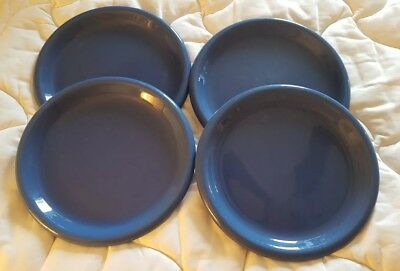 Lot of 4 Vintage Country Blue *CROWN CORNING*  Stoneware 11'' Dinner Plate JAPAN
