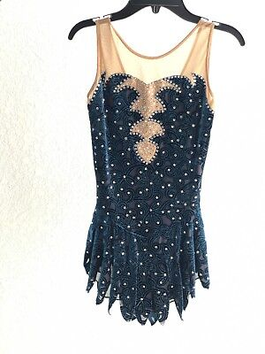 Figure Skating Dress With Swarovsky Crystals. Size 11-12 Years Old.