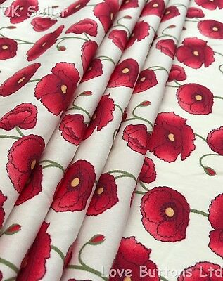 Rose & Hubble Remembrance Day Poppies Ivory Fabric 100% Cotton Fat Quarters